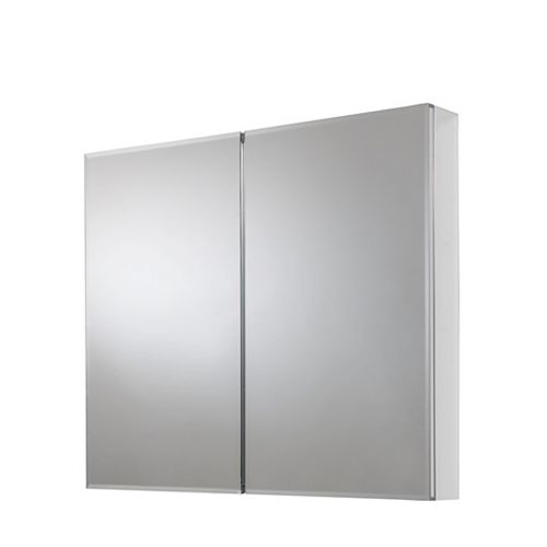 30-inch x 24-inch Recessed or Surface Mount Medicine Cabinet with Bi-View Beveled Mirror in Silver