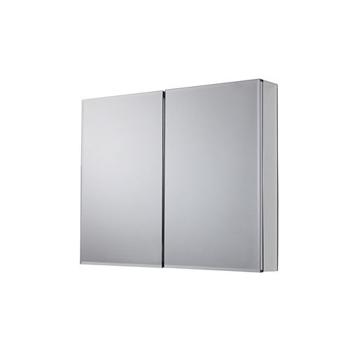 36-inch x 30.5-inch Recessed or Surface Mount Medicine Cabinet with Bi-View Beveled Mirror in Silver