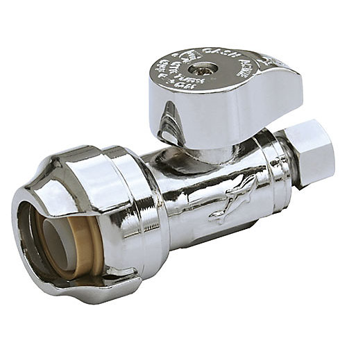1/2-inch x 3/8-inch Compression Chrome Straight Stop