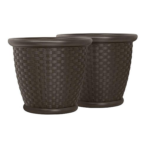Sonora 18-inch x 16-inch Blow Molded Planter (2-Pack)