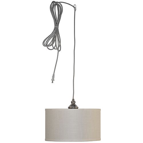 Hampton Bay Carroll 1-Light Brushed Nickel Pendant with Fabric Drum Shade