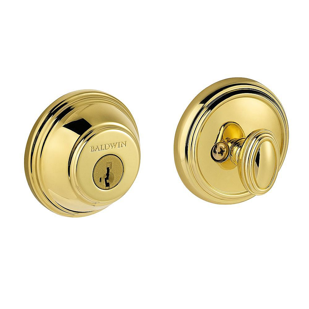 Baldwin Prestige Polished Brass Single Cylinder Round Deadbolt