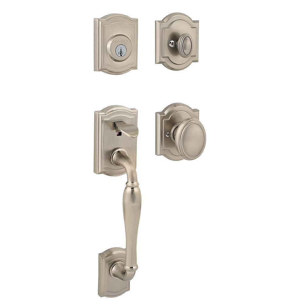 Baldwin Prestige Wesley Single Cylinder Satin Nickel Handle Set with Carnaby Entry Knob and SmartKey