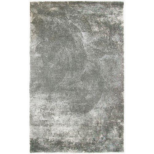 Carpette d'intérieur, 5 pi x 8 pi, à poils longs, rectangulaire, gris Loft