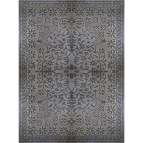Carpette d'intérieur, 5 pi x 8 pi, style transitionnel, rectangulaire, gris Vintage