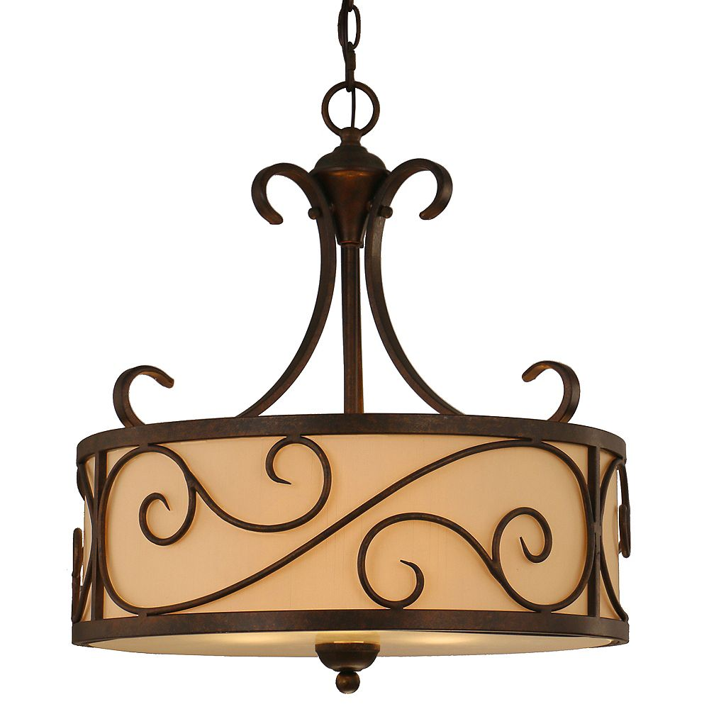 Home Decorators Collection Karina 3-Light 60W Light Brown Pendant with Cream Fabric Shade