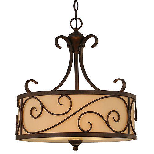 Luminaire suspendu Karina, brun clair, 3ampoules. 60W, abat-jour en tissu crème