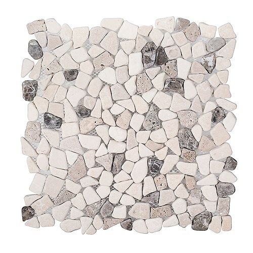 River Rock Medley 11.375-inch x 11.375-inch x 8 mm Travertine Mosaic Floor/Wall Tile
