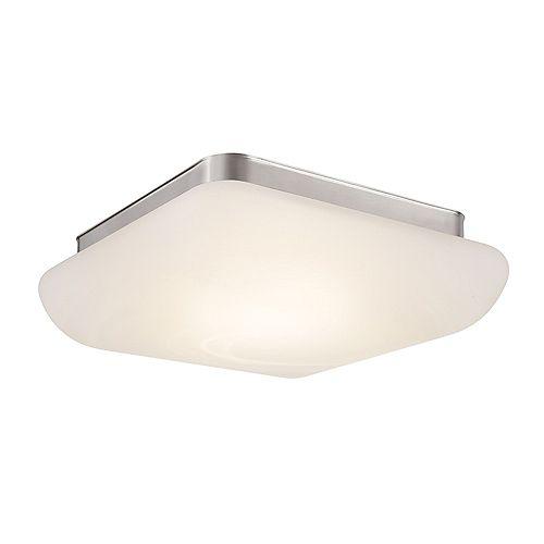 Hampton Bay Plafonnier nickel brossé, DEL intégrée, 13po, diffuseur en verre façon albâtre  ENERGY STAR