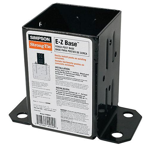 E-Z Base 12-Gauge Black Powder-Coated Post Base for 4x4