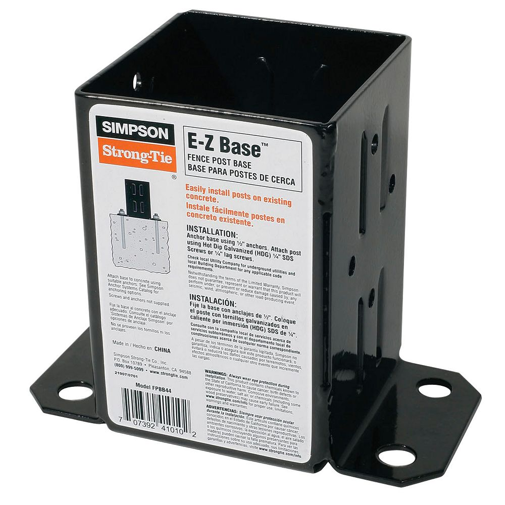 Simpson Strong-Tie E-Z Base 12-Gauge Black Powder-Coated Post Base for 4x4