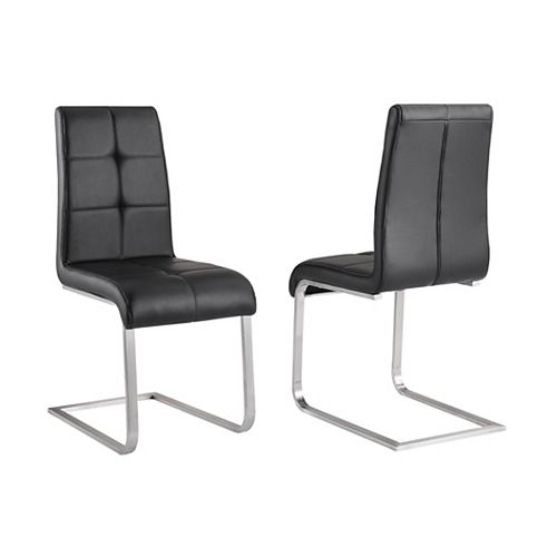 Kolt Metal White Cross Back Armless Dining Chair with Black Faux Leather Seat - (Set of 2)