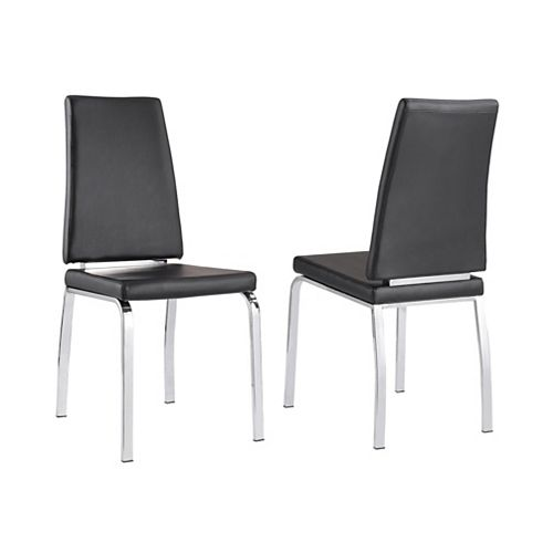 Lex Metal White Cross Back Armless Dining Chair with Black Faux Leather Seat (Set of 2)