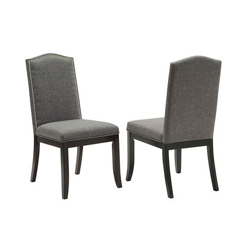 Jazz Manufactured Wood Grey Full Back Armless Dining Chair with Grey Fabric Seat - (Set of 2)