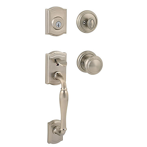 Prestige Wesley Single Cylinder Satin Nickel Exterior Door Handleset with Alcott SmartKey Entry Knob
