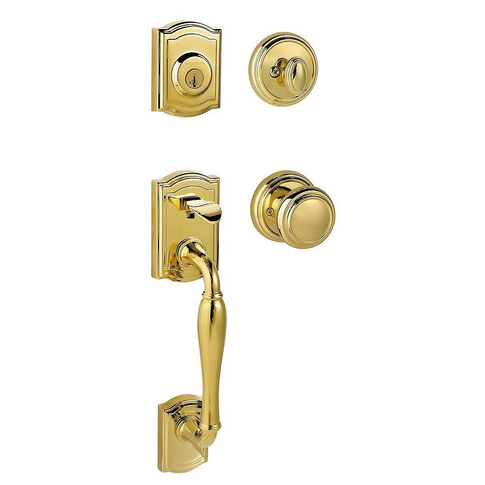 Baldwin Prestige Wesley Single Cylinder Lifetime Polished Brass Handle Set with Alcott Entry Knob and SmartKey