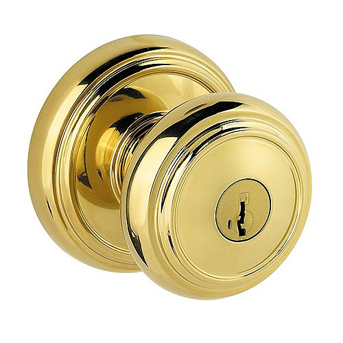 Weiser Prestige Alcott Lifetime Polished Brass Entry Knob with SmartKey
