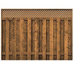 Panneau de clôture avec treillis en bois traité