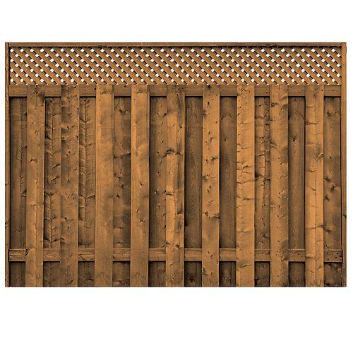 Panneau de clôture planche sur planche avec treillis en bois traité
