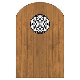 Porte en bois traité avec insertion hublot