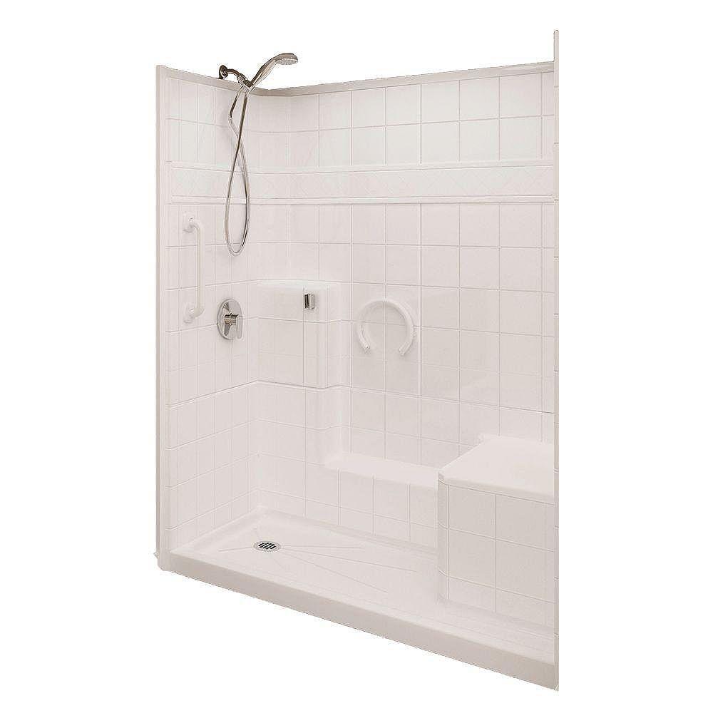 Ella Prestige 32-Inch x 60-Inch x 77-Inch 3-Piece Shower Stall in White
