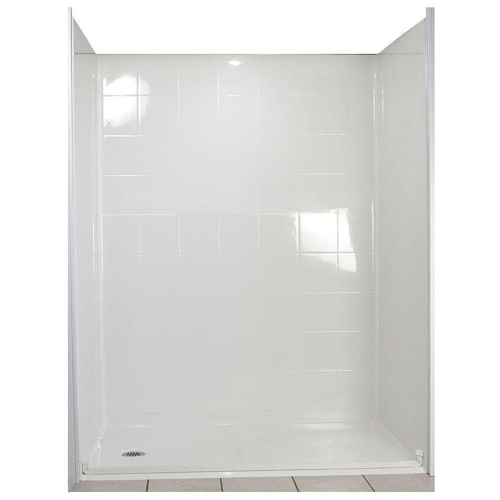 Ella Standard 37-Inch x 60-Inch x 77 1/2-Inch 5-Piece Barrier Free Roll In Shower Stall in White