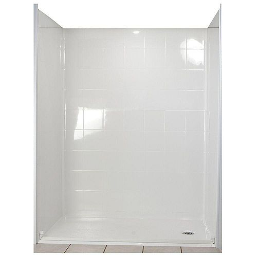 Standard 33 1/2-Inch x 60-Inch x 77 1/2-Inch 5-Piece Barrier Free Roll In Shower Stall in White