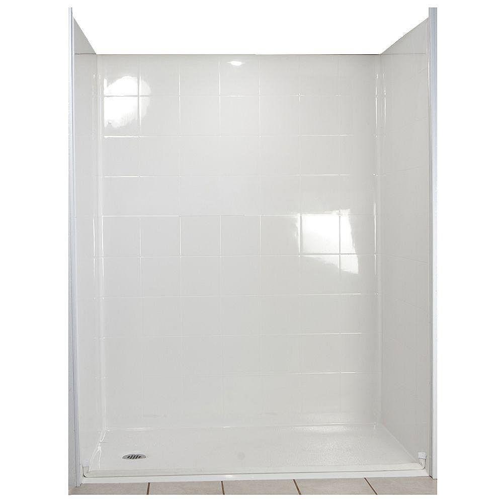 Ella Standard 33 1/2-Inch x 60-Inch x 77 1/2-Inch 5-Piece Barrier Free Roll In Shower Stall in White