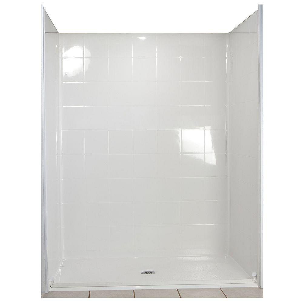 Ella Standard 33-4/12 Inch x 60 Inch x 77-1/2 Inch Barrier Free Roll in Shower Wall and Base Kit in White with Center Drain