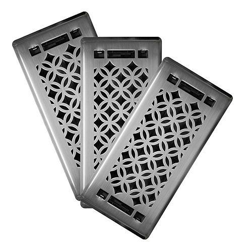 3x10 Designer Serenity Brushed Nickel Floor Register (3-Pack)