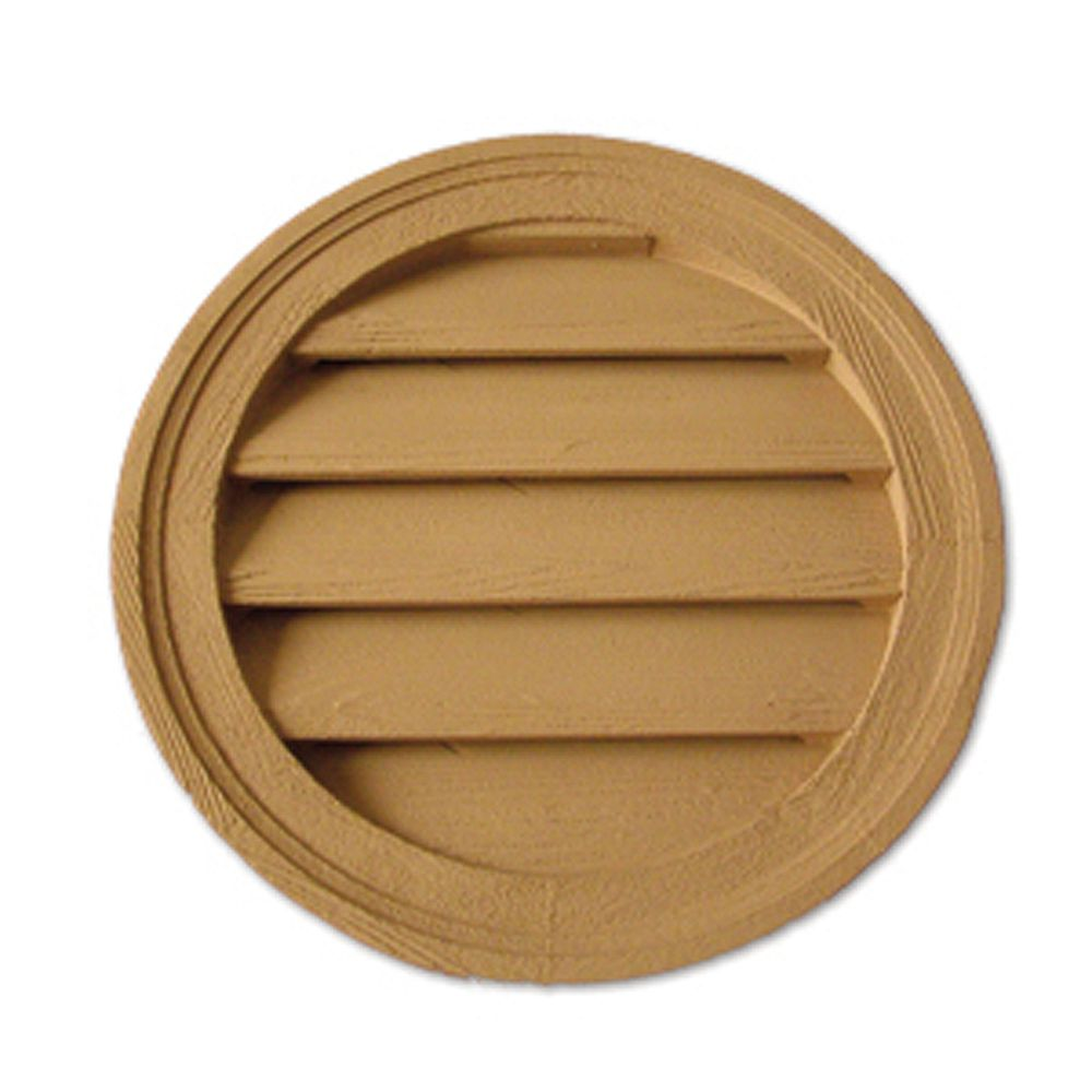 Fypon 18-inch x 1 5/8-inch Polyurethane Decorative Round Louver Gable Grill Vent with Wood Grain Texture