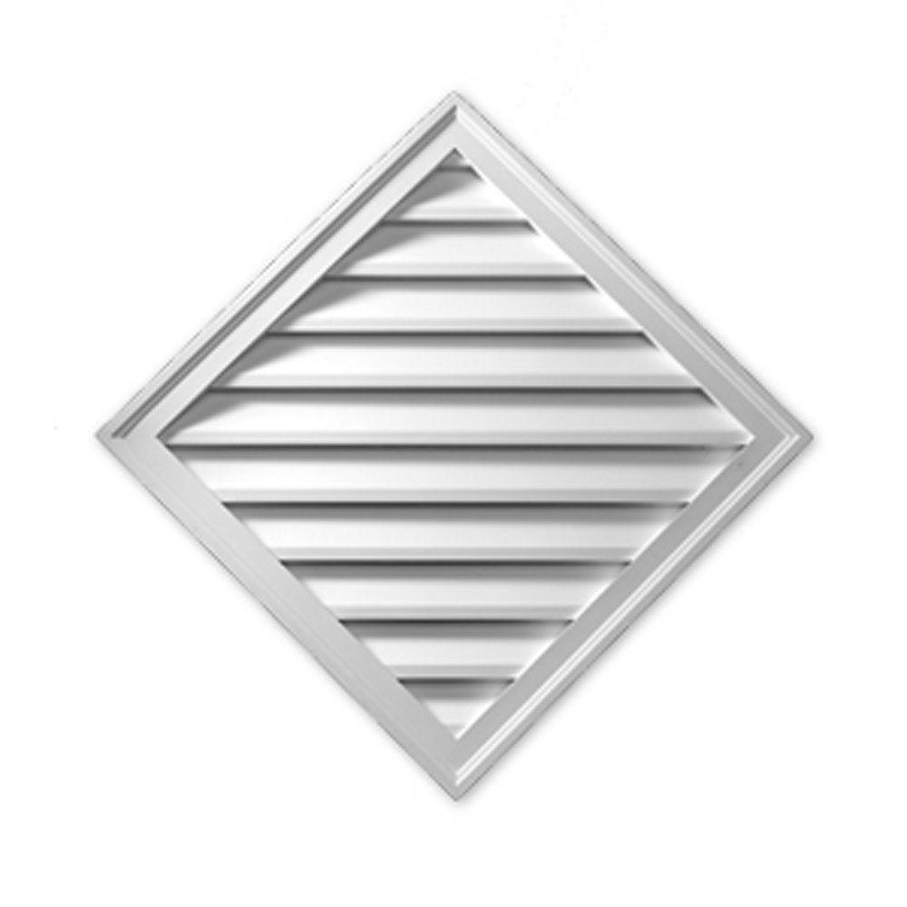 Fypon 33 15/16-inch x 33 15/16-inch x 1 5/8-inch Polyurethane Diamond Smooth Louver Gable Grill Vent