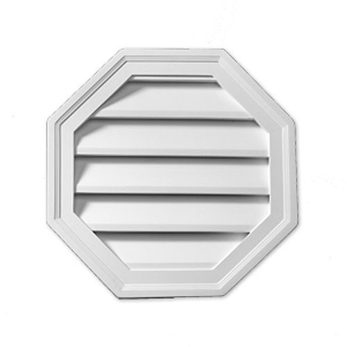 22-inch x 22-inch x 1 5/8-inch Polyurethane Functional Octagon Louver Gable Grill Vent