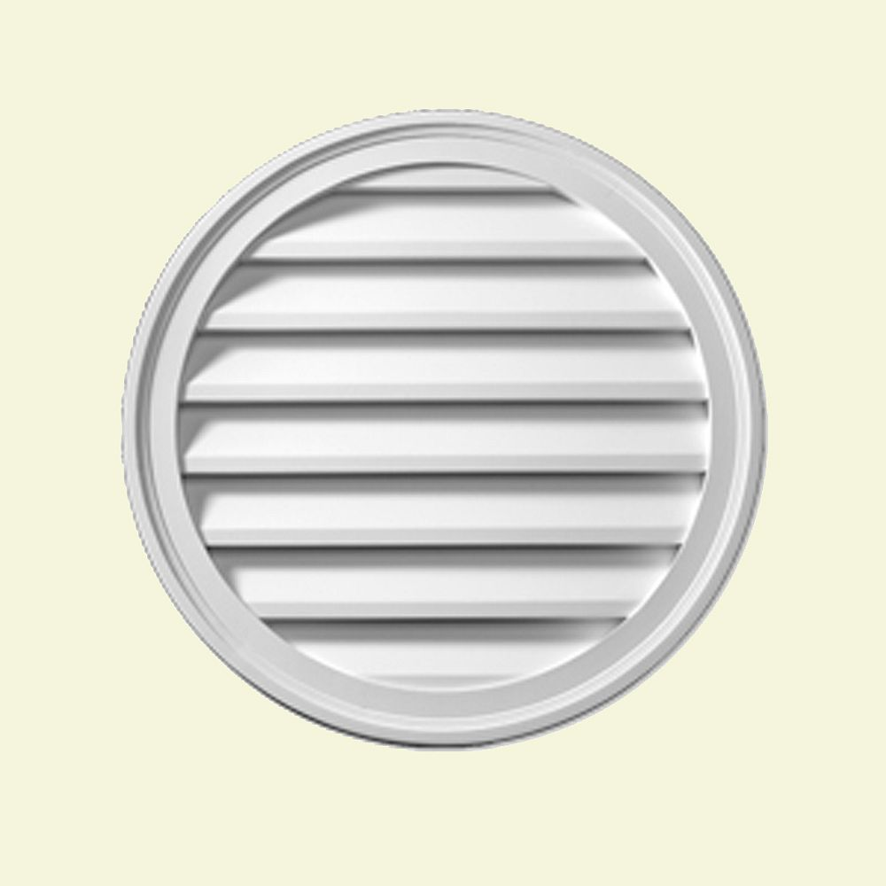 Fypon 22-inch x 1 5/8-inch Polyurethane Functional Round Louver Gable Grill Vent