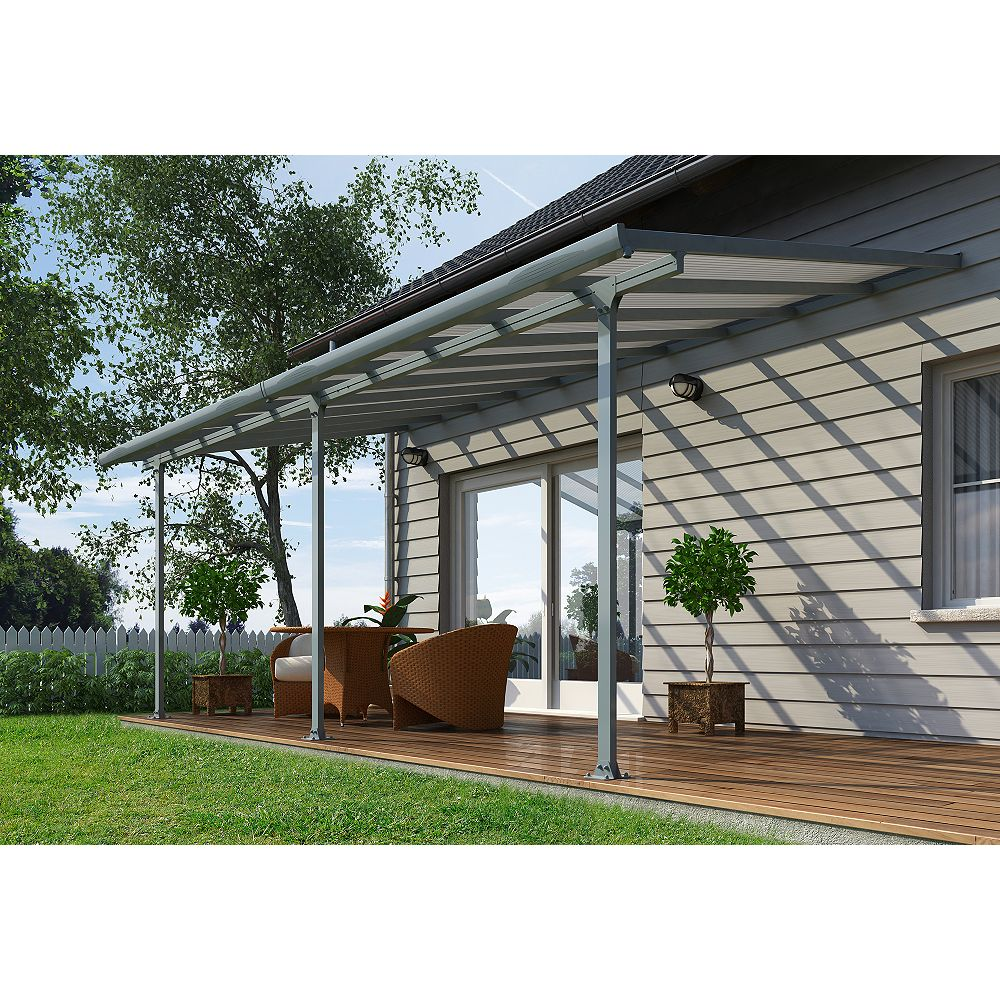 Palram Feria 10 ft. x 24 ft. Patio Cover in Grey
