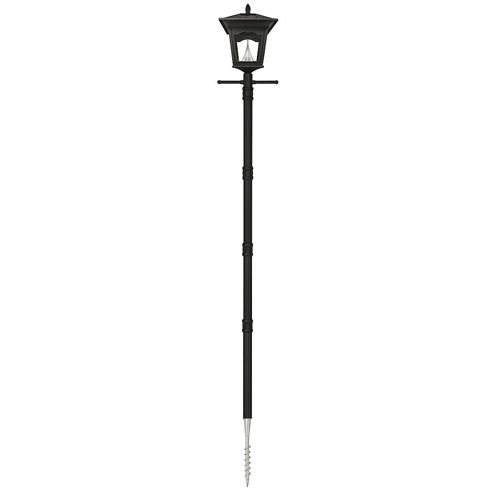 Gama Sonic Peking Solar Black Outdoor Post Lamp with EZ Anchor