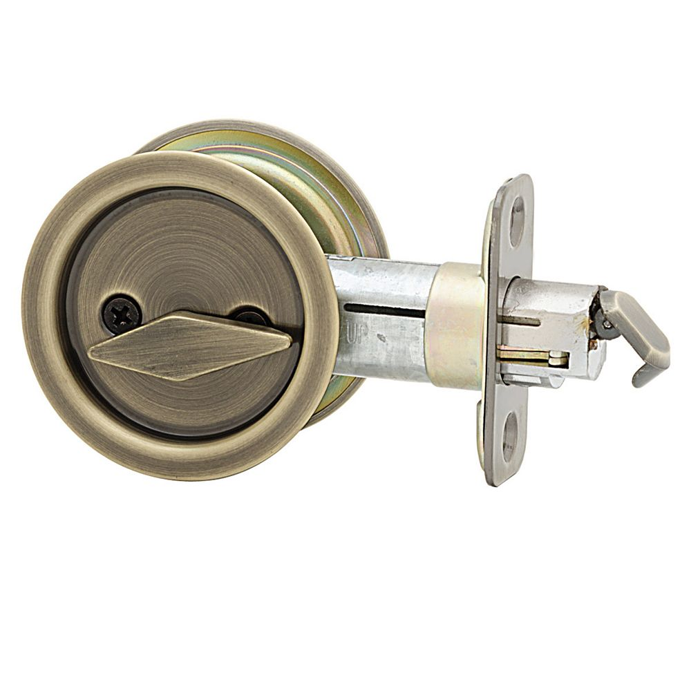 Weiser 1031 Antique Brass Round Pocket Door Privacy Lock