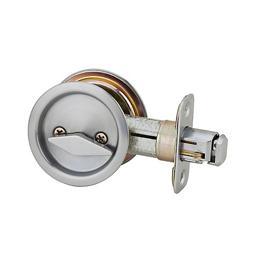 1031 Satin Chrome Round Pocket Door Privacy Lock