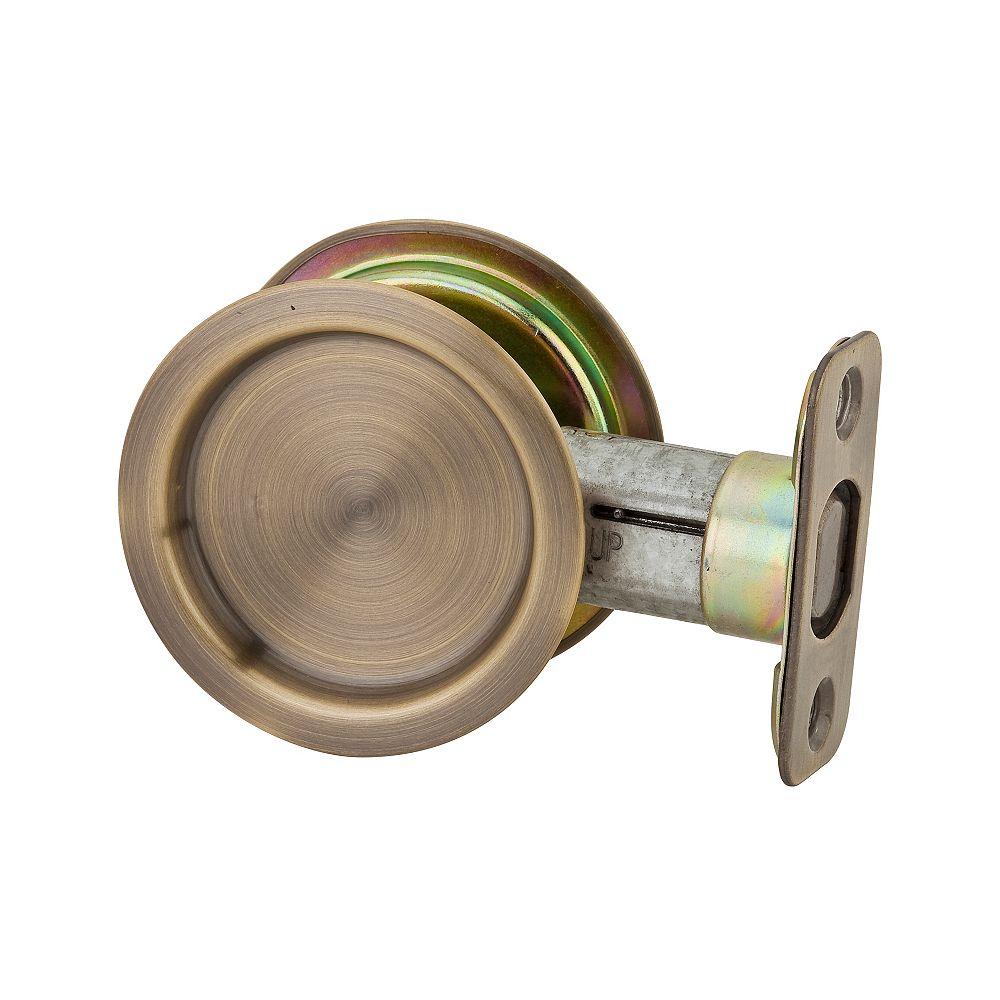 Weiser 1030 Round Antique Brass Pocket Door Passage Lock