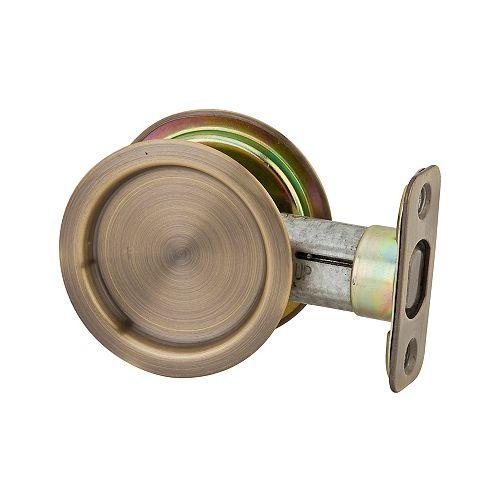 1030 Round Antique Brass Pocket Door Passage Lock