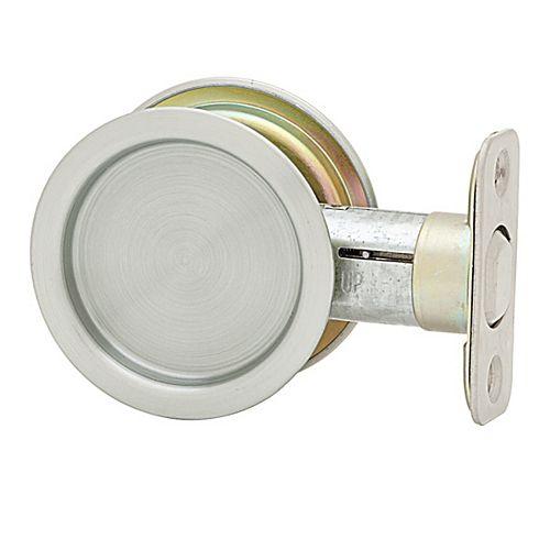 1030 Round Satin Chrome Pocket Door Passage Lock