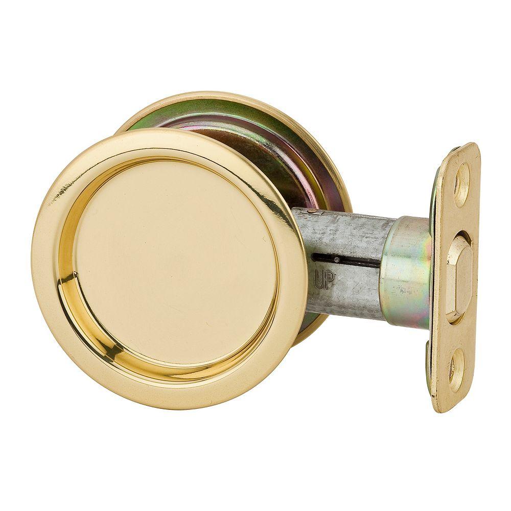Weiser 1030 Round Polished Brass Pocket Door Passage Lock