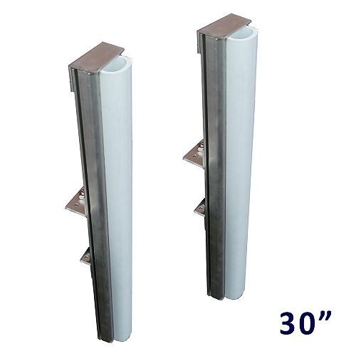 Pair (2) PVC and aluminum Vertical 30 inch Dock Bumpers