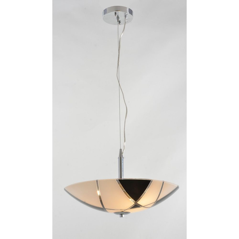 Lumirama 16 Inch Suspension with Glossy  Black and White Glass from Domini Collection