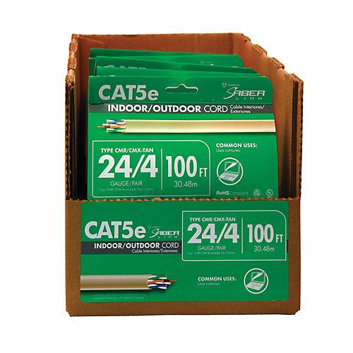 Câble gris CAT 5E 24/4 paires 100 pieds