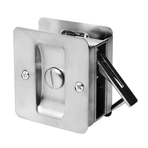 Welcome Home Satin Chrome Square Pocket Door Privacy Lock for Doors up to 2 1/4-inch x 1 7/8-inch Cut-out in Edge of 1 3/8-inch