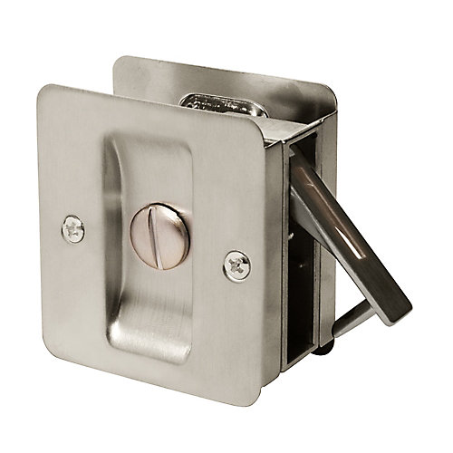 1031 Satin Nickel Square Privacy Pocket Door Lock