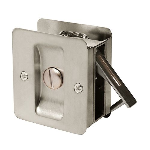 Welcome Home Satin Nickel Square Pocket Door Privacy Lock for Doors up to 2 1/4-inch x 1 7/8-inch Cut-out in Edge of 1 3/8-inch