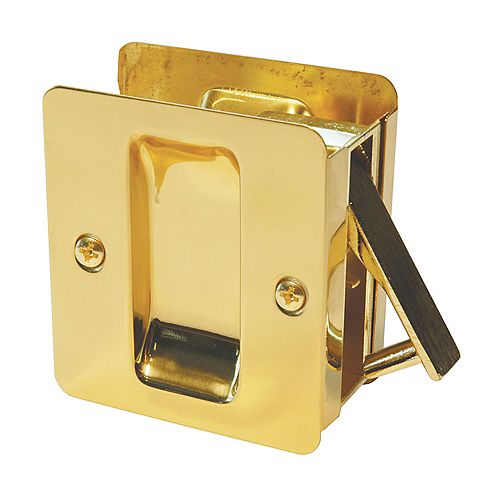 Welcome Home 1030 Polished Brass Square Pocket Door Passage Lock for Doors up to 2 1/4-inch x 1 7/8-inch Cut-out in Edge of 1 3/8-inch