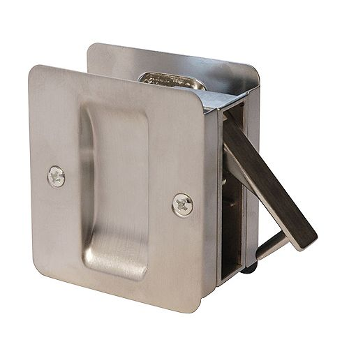 Welcome Home 1030 Satin Chrome Square Pocket Door Passage Lock for Doors up to 2 1/4-inch x 1 7/8-inch Cut-out in Edge of 1 3/8-inch